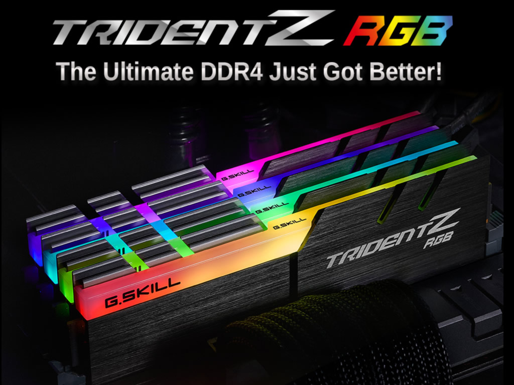 g skill f4 3000c15d 16gtzr trident z rgb 288pin ddr4 3000 cl15 16 16 16gb 8gbx2 set. Black Bedroom Furniture Sets. Home Design Ideas